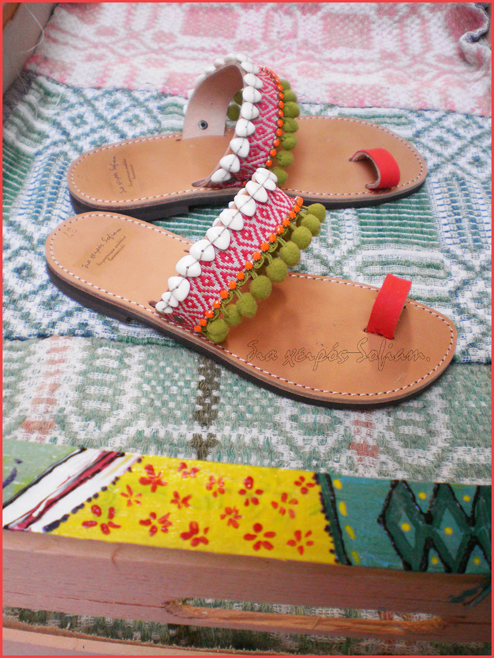 Red Macaw bird sandals